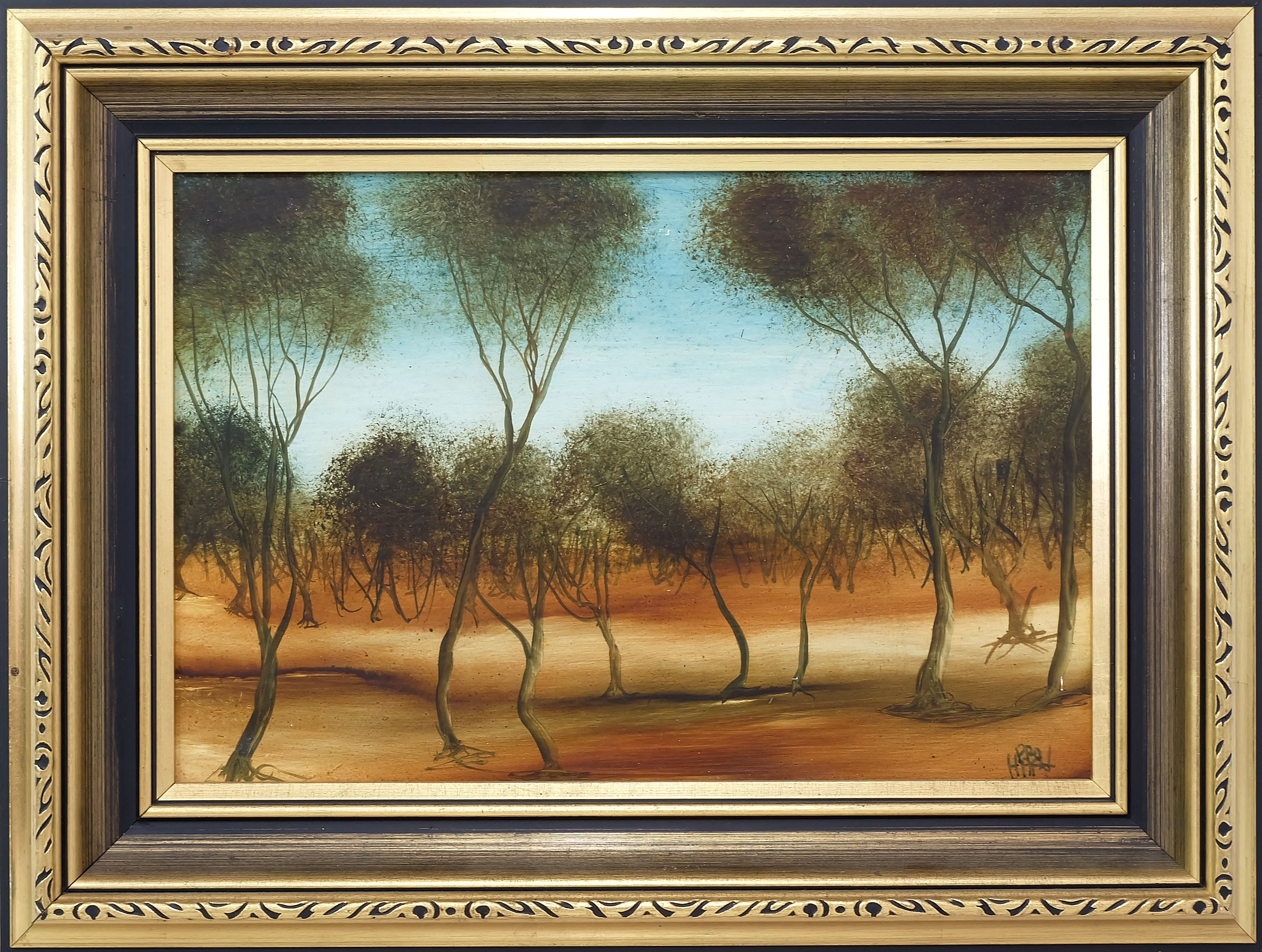 'Pro Hart (1928-2006) Landscape Oil on Board'