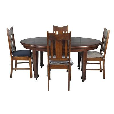 Tasmanian Blackwood Dining Table with Four Maple Chairs Early 20th Century
