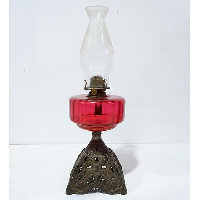 Victorian Ruby Glass Font Oil Lamp with Spare Chimney Late 19th Century