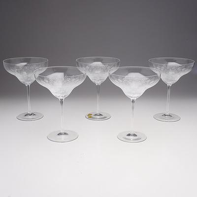 Five Rosenthal Romance II Saucer Champagne Glasses