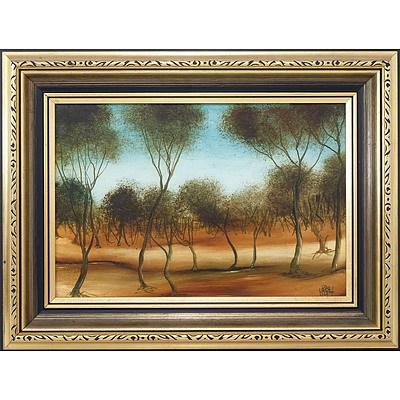 Pro Hart (1928-2006) Landscape Oil on Board