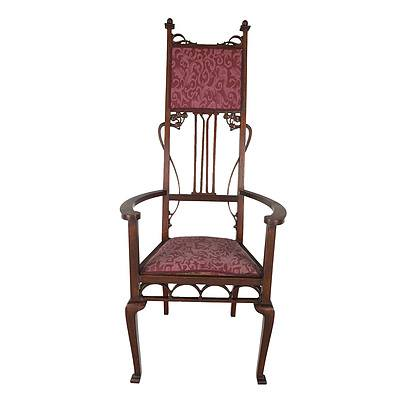 Impressive Large Australian Arts & Crafts Style Carved Maple Throne Chair, Early 20th Century