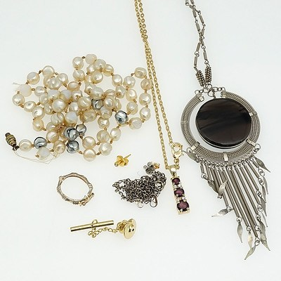 Gold Coloured Six Chain Necklace, Contemporary Dream Catcher Style Pendant, Imitation Pearls and More