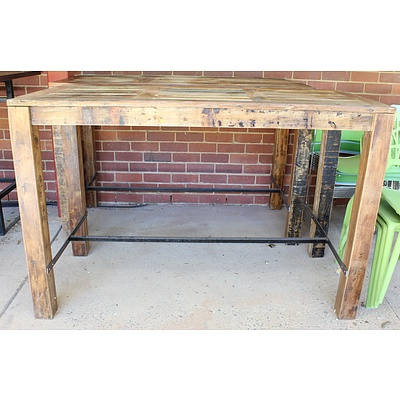 Recycled Hardwood Bar Bench Tables - Lot of Two