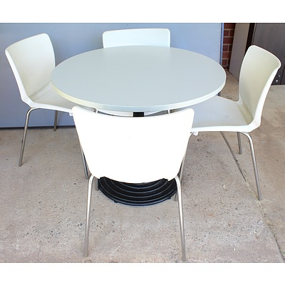 Round Cafe Table and Four Chairs