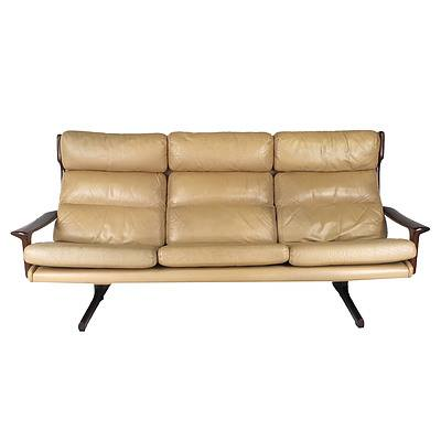 Retro Tessa T21 Leather Three Seater Lounge Designed by Fred Lowen