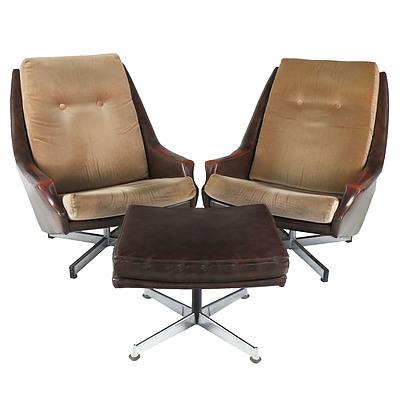 Pair of Fler Fleronde Swivel Chairs and Footrest
