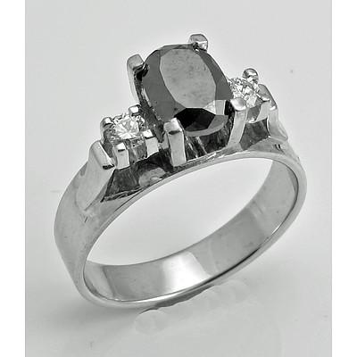 Large Black Oval Diamond Ring - 14ct White Gold