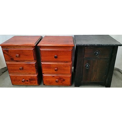 Bedside Tables - Lot of Three