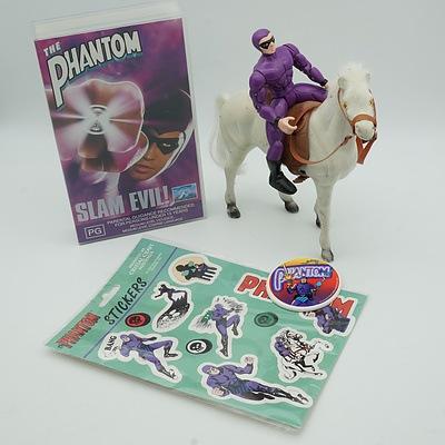 Group of Phantom Toys, Including 1996 Phantom Movie and 1998 Model Phantom and Horse