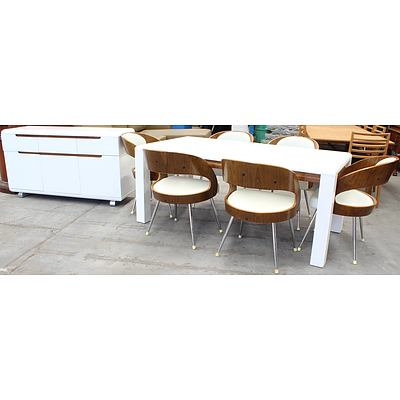 Tubeworks Furniture Contemporary Seven Piece Dining Setting and Sideboard