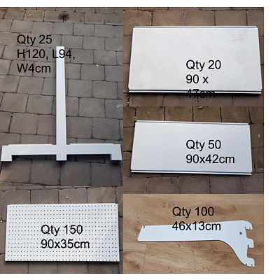 Commercial Pegboard 120cm High Shop Shelving