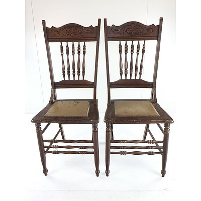 Four Antique Spindle Back Dining Chairs