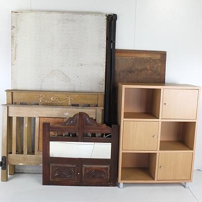 Antique Bed, Edwardian Mirror, Edwardian Sideboard Back, and Bookcase