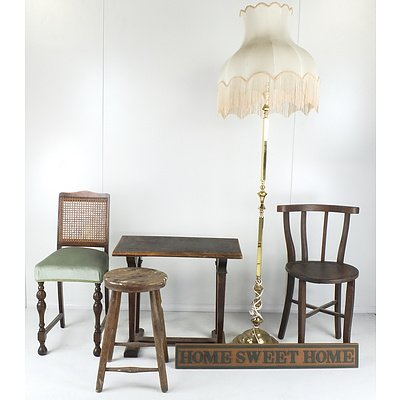 Standard Lamp, Small Chairs, Stool, Small Table and Home Sweet Home Sign