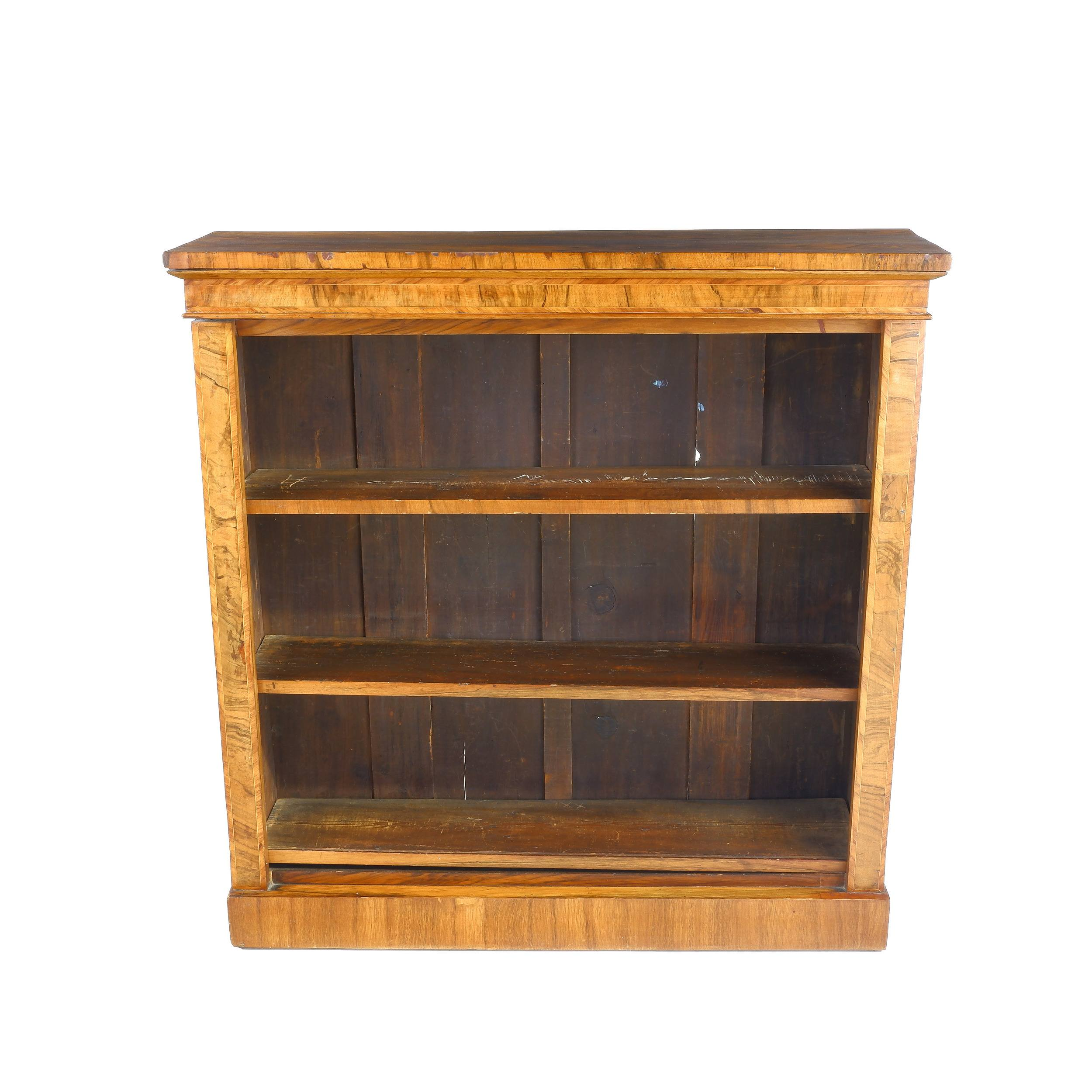 'William IV String Inlaid and Crossbanded Walnut Open Bookcase Circa 1835'