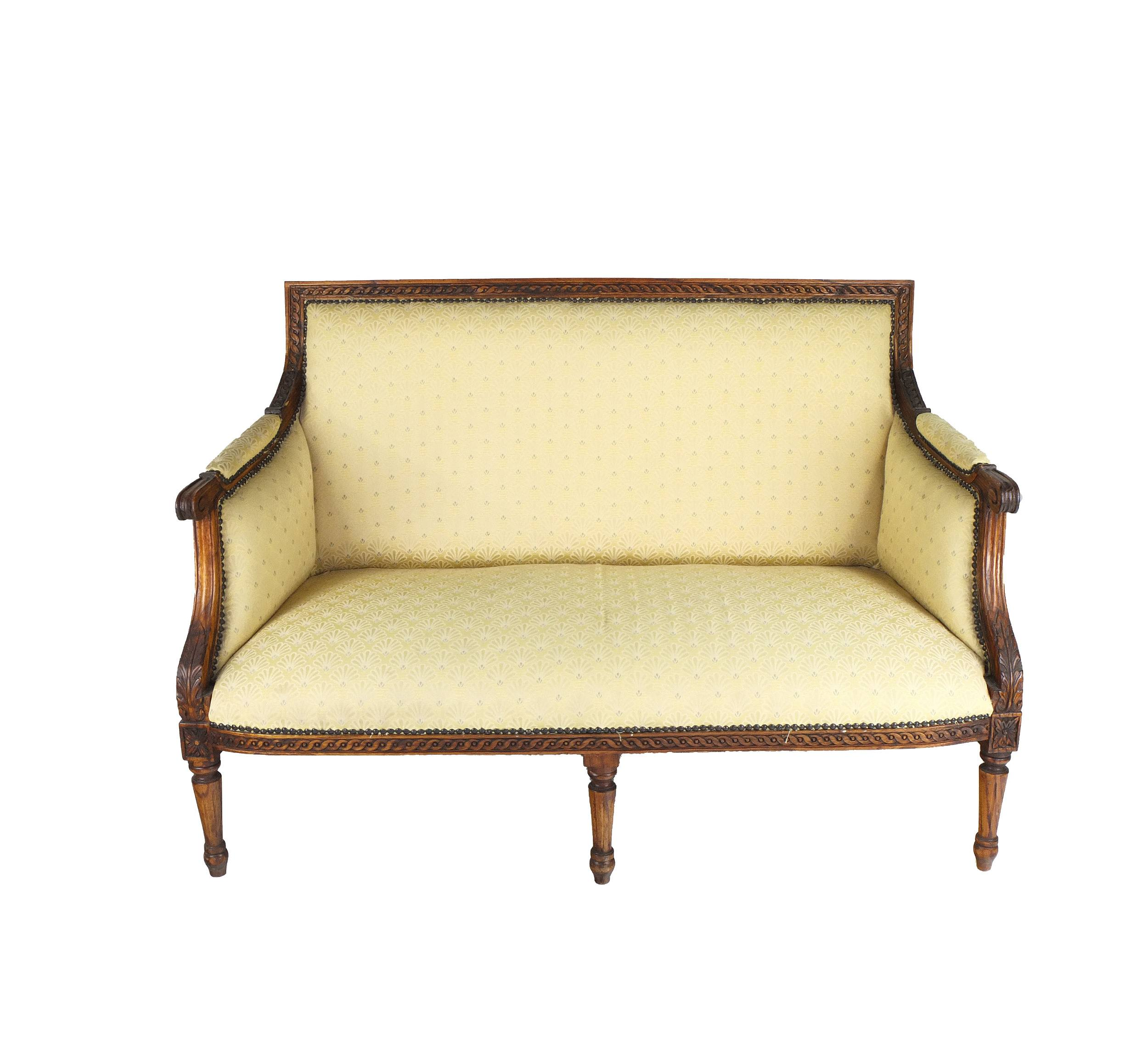 'French Louis Style Finely Carved Oak Settee Early 20th Century'