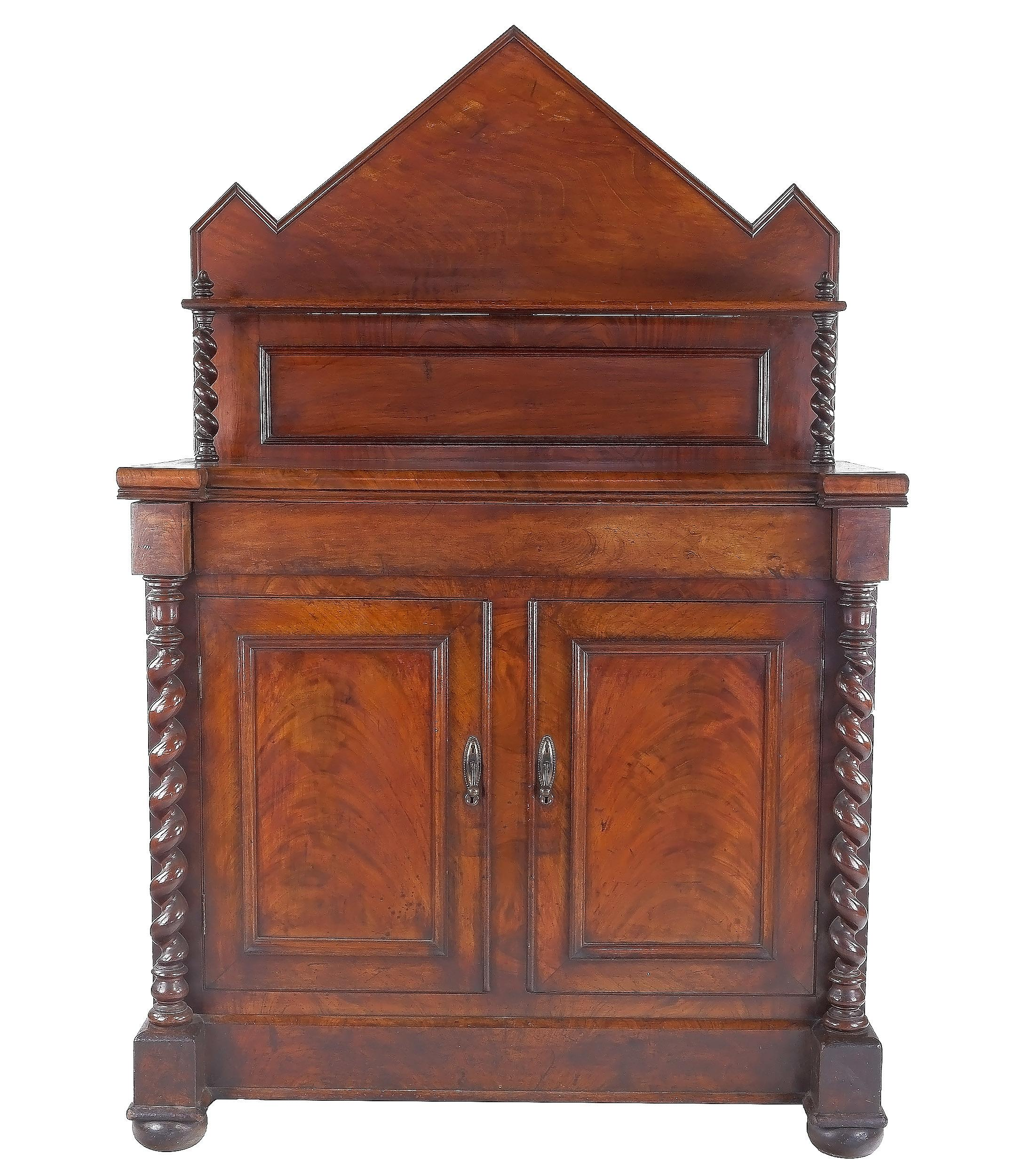 'Australian Cedar Chiffonier with Barley Twist Columns and Palladian Back, 4th Quarter of the 19th Century'