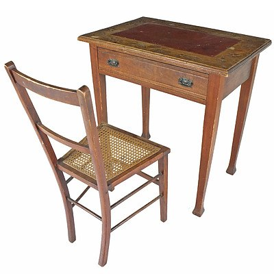 Small Writing Table and Inlaid Caned Chair Early 20th Century