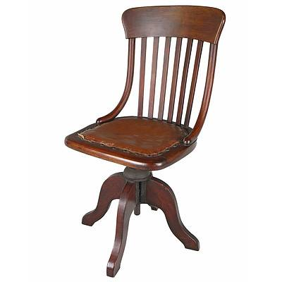 Antique Beech Swivel Chair Early 20th Century