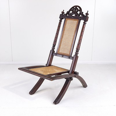 Well Carved Victorian Walnut and Caned Folding Chair Circa 1880