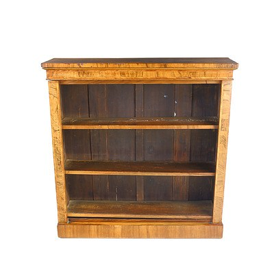 William IV String Inlaid and Crossbanded Walnut Open Bookcase Circa 1835