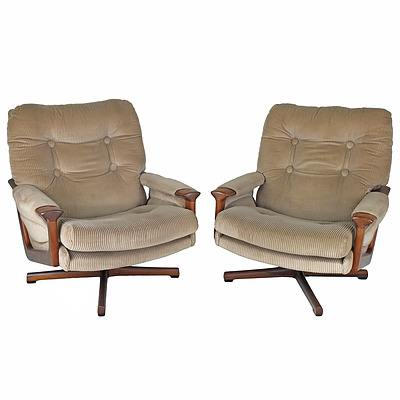 Pair of Tessa T1 Swivel Base Tasmanian Blackwood Corduroy Upholstered Armchairs Designed by Fred Lowen