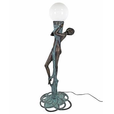 Large Art Deco Style Brass or Bronze Floor Lamp