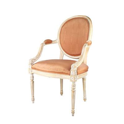 Vintage French Louis Style Armchair with Limed Finish