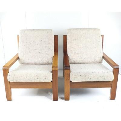 Pair of Vintage Post and Rail Style Solid Tasmanian Blackwood Armchairs
