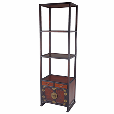 Korean Brass Mounted Wood Stand with Elm Door Panels Late 20th Century