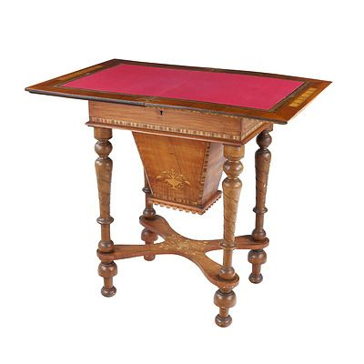 Good Late Victorian Inlaid Walnut Combination Sewing Games Table Circa 1880