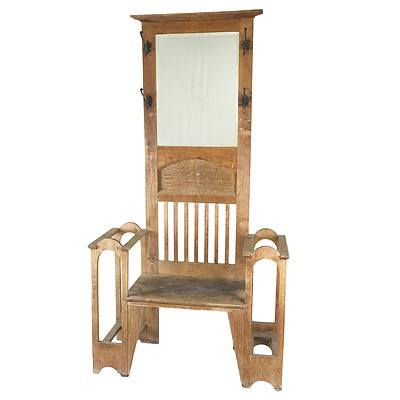 English Oak Arts and Crafts Hallstand Early 20th Century