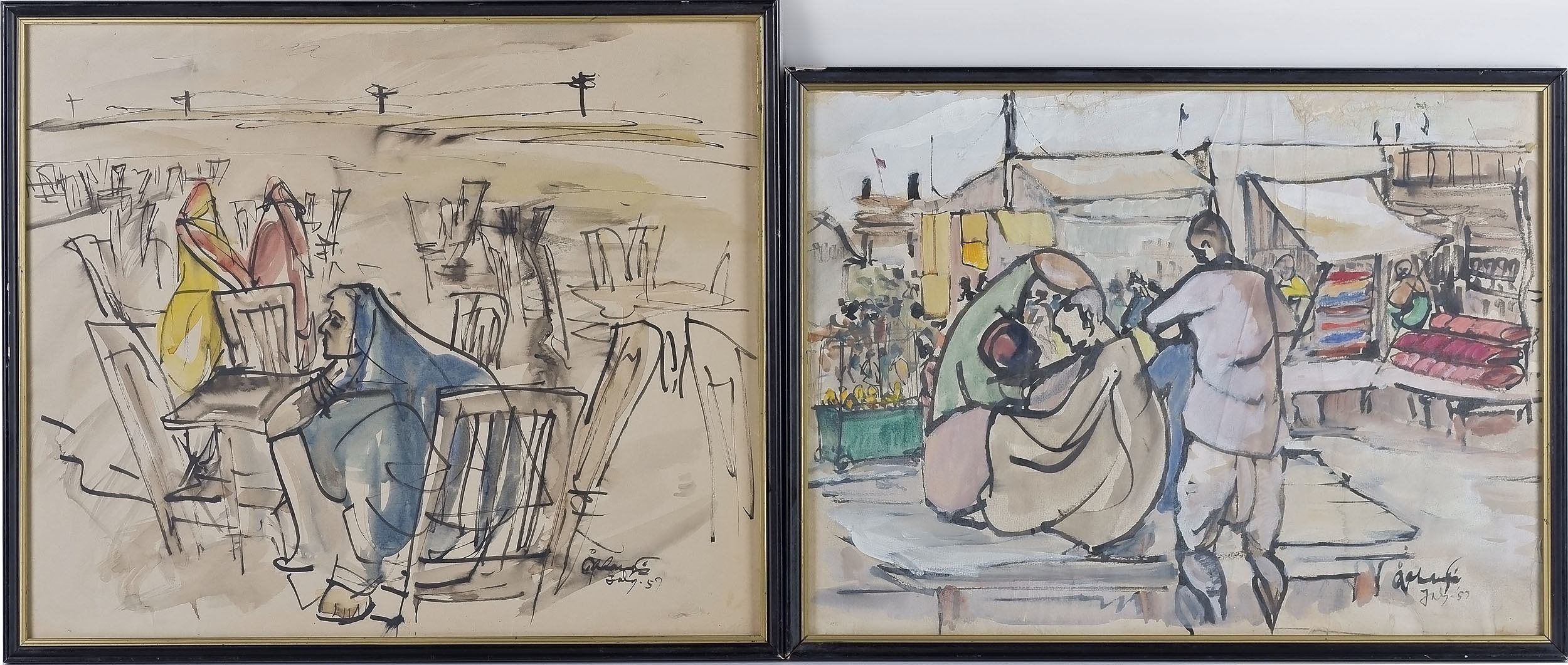 'Syed Jahangir (Pakistani 1935-2018) Two Artworks, Watercolour and Ink on Paper'