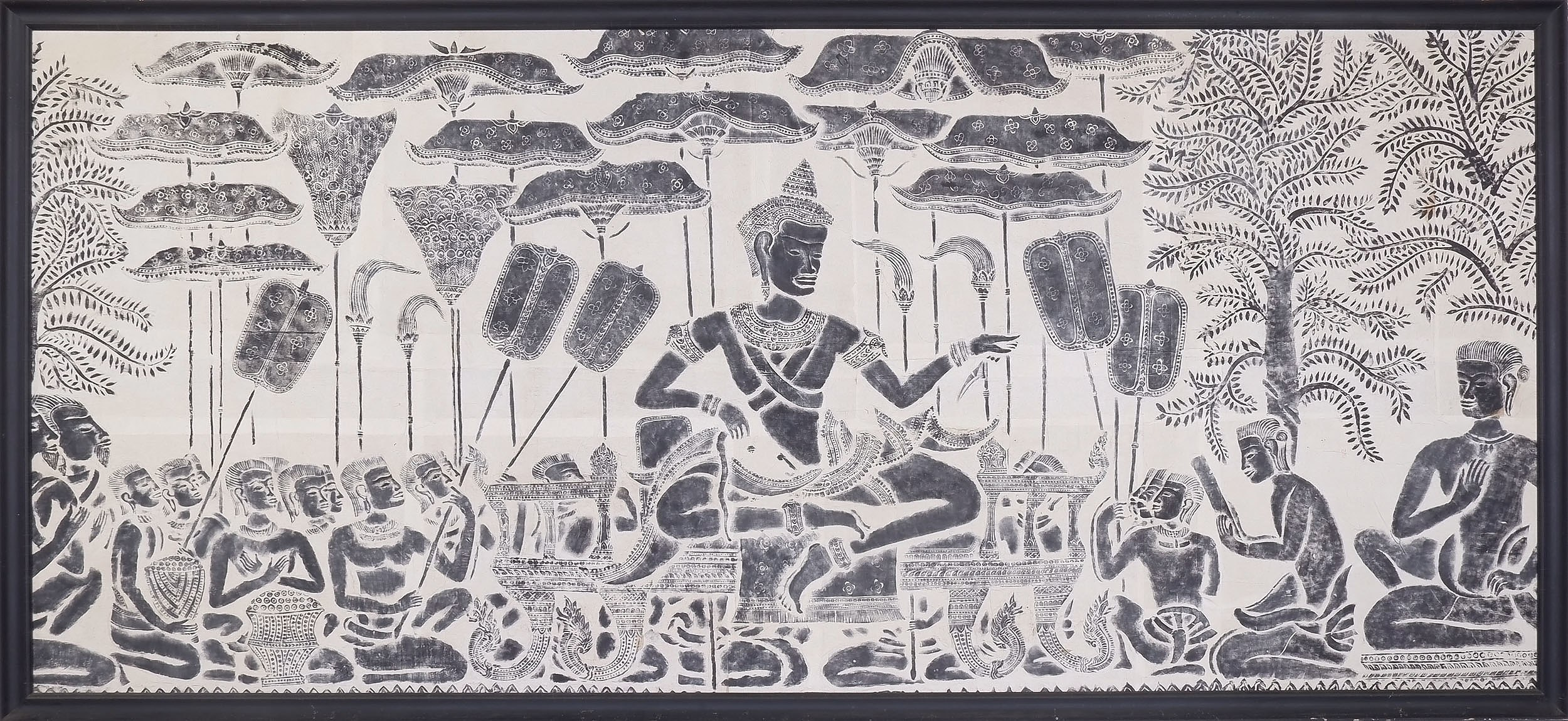 'Large Framed Rubbing of Angkor Watt Made by the Monks of Ankor Watt 1967'
