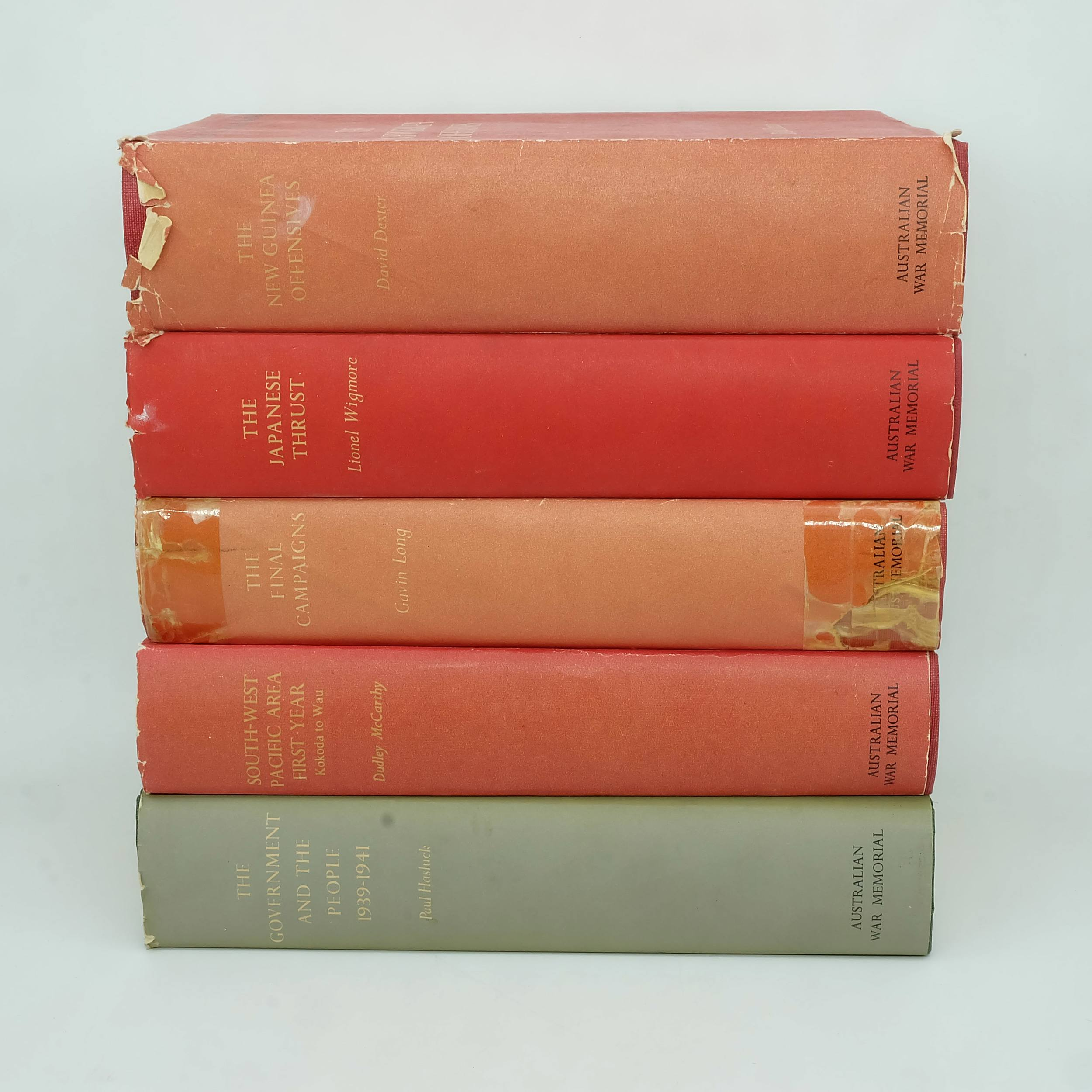 'Five Volumes of Australia in the War 1939-1945, Lionel Wigmore, David Dexter, Paul Hasluck, Dudley McCarthy and Gavin Long'