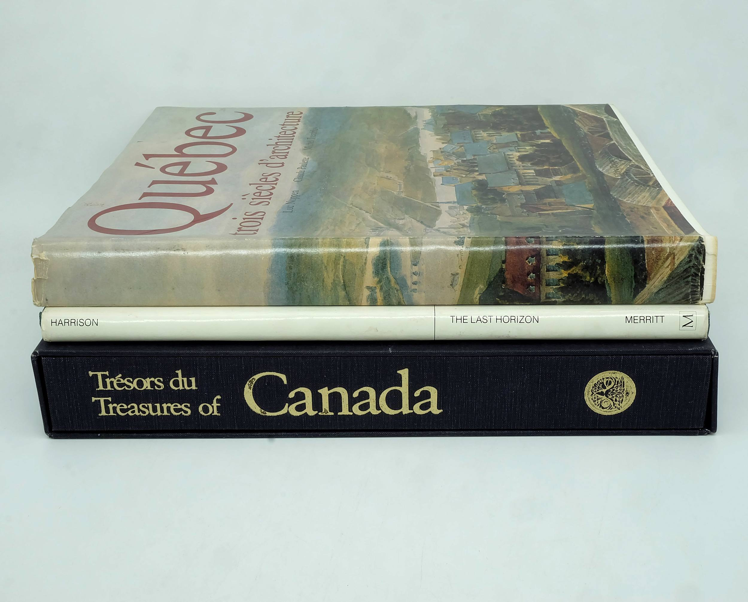 'Three Books Given to Barrie Dexter During his Posting to Canada, Including Treasures of Canada, Quebec and the Last Horizon'