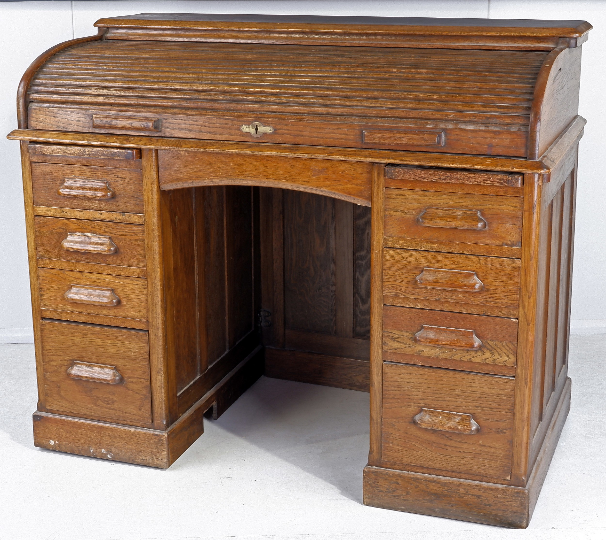 'WITHDRAWN Oak Double Pedestal Roll Top Desk Early 20th Century'