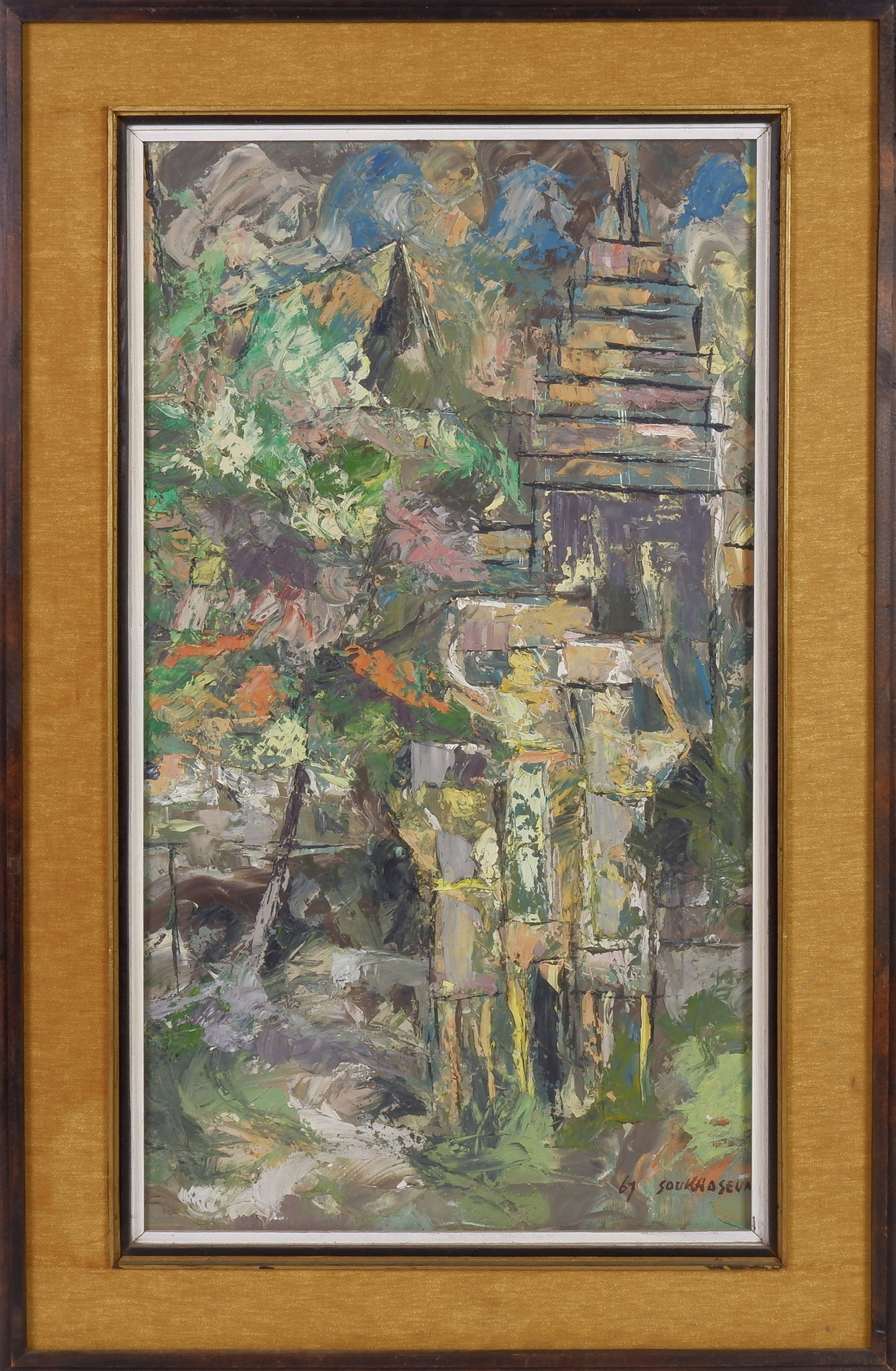 'Chanthapanya Soukhaseum (Laotian Dates Unknown) Les Ruines De Sayfong, Oil on Canvas '