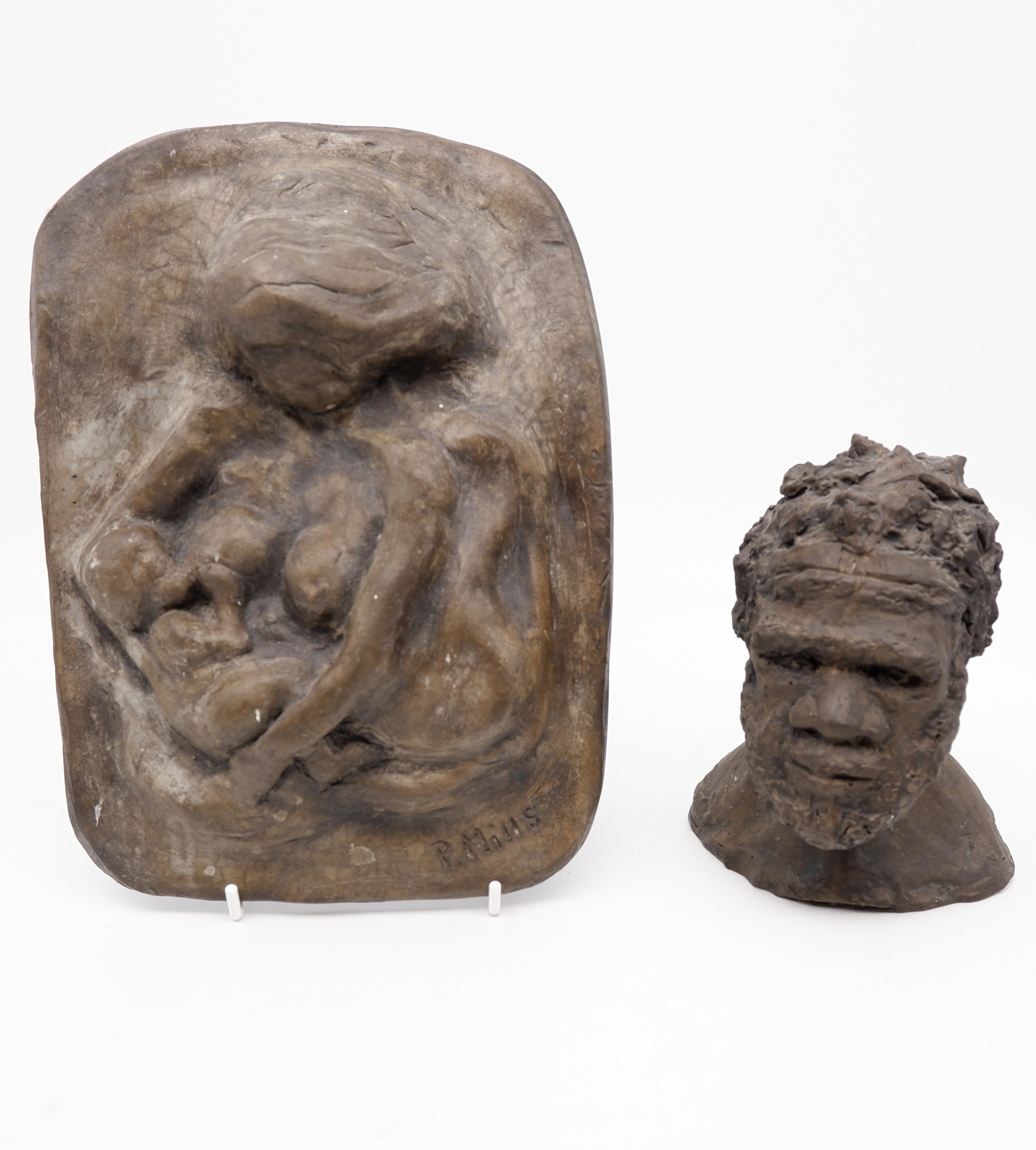 'Two Ceramic Sculptures by P. Mills'