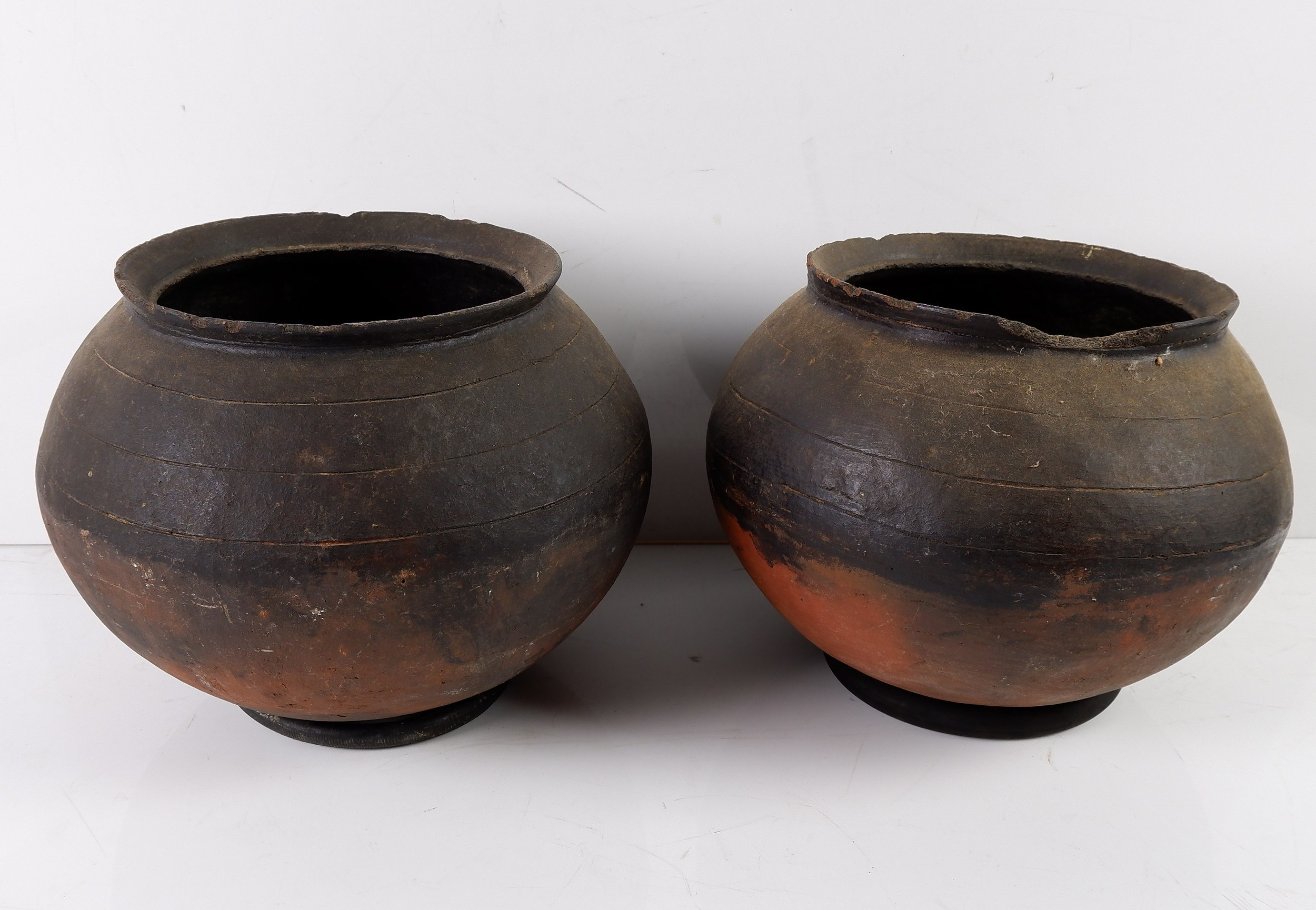 'Two African Woodfire Ceramic Cooking Pots Circa 1960s'