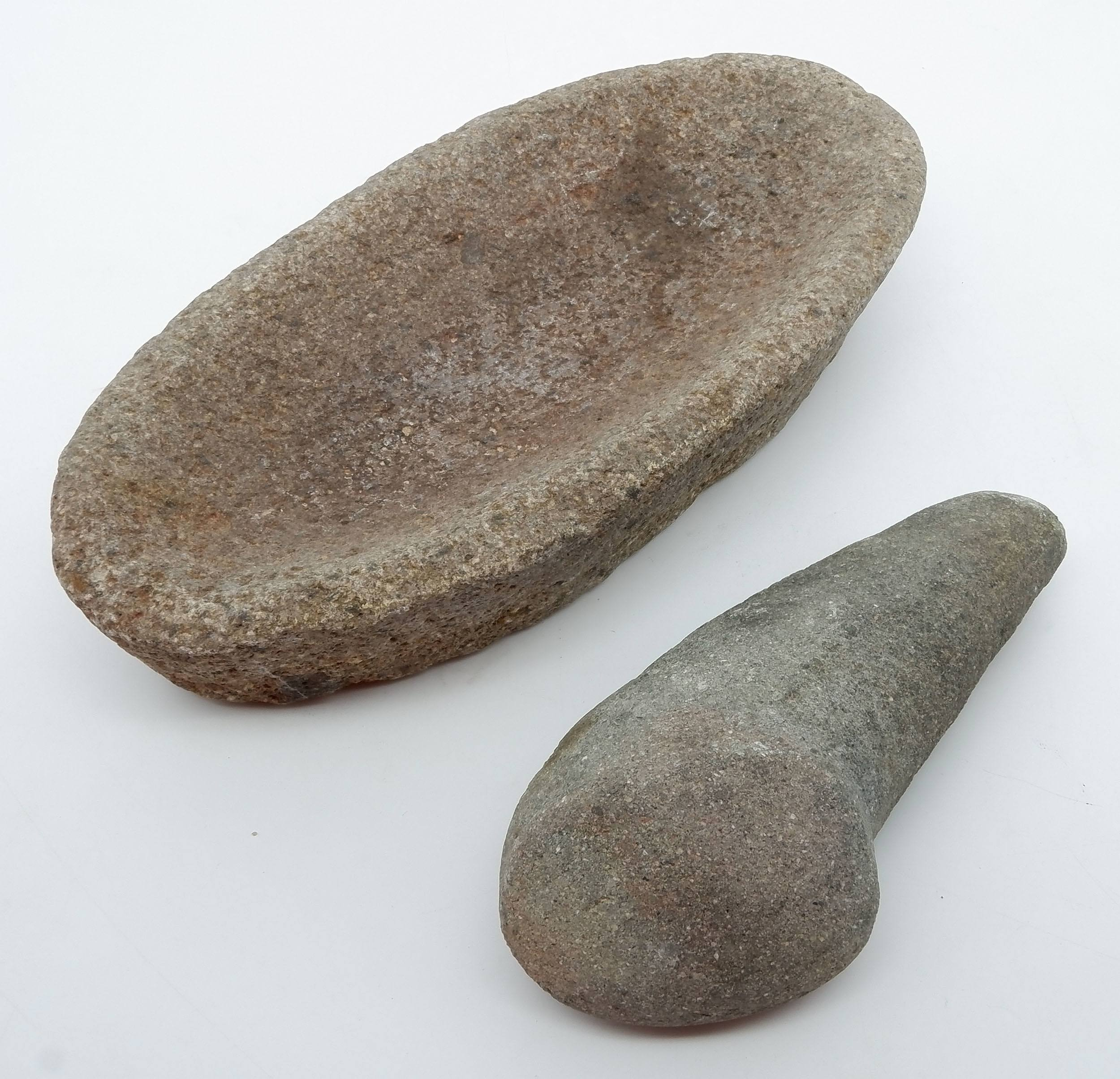 'Aboriginal Seed Grinding Stone and Pestle'