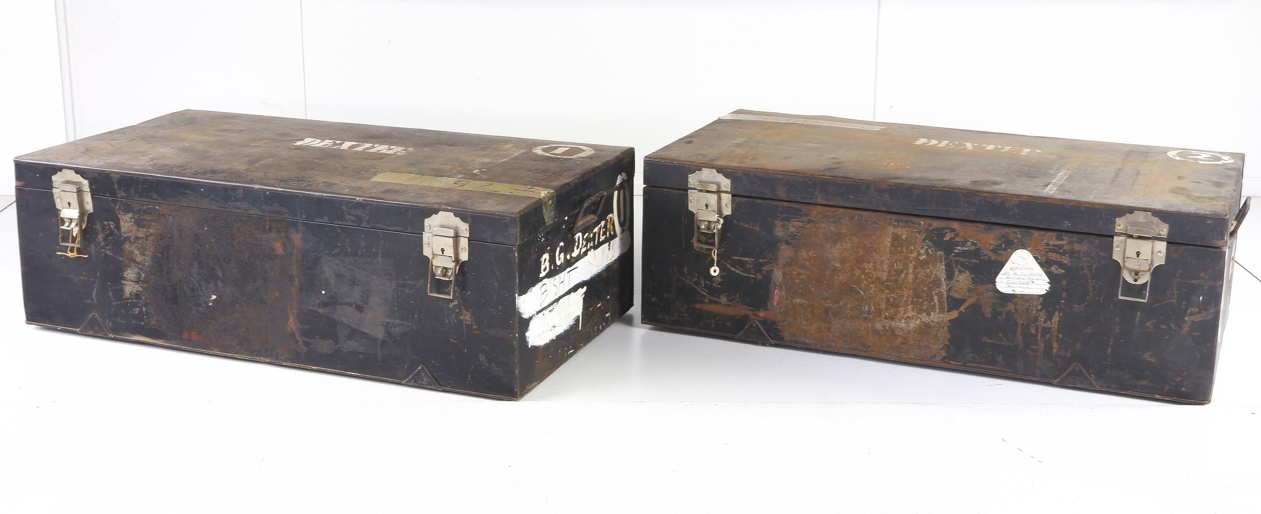 'Two Large Ex Diplomatic Metal Trunks'