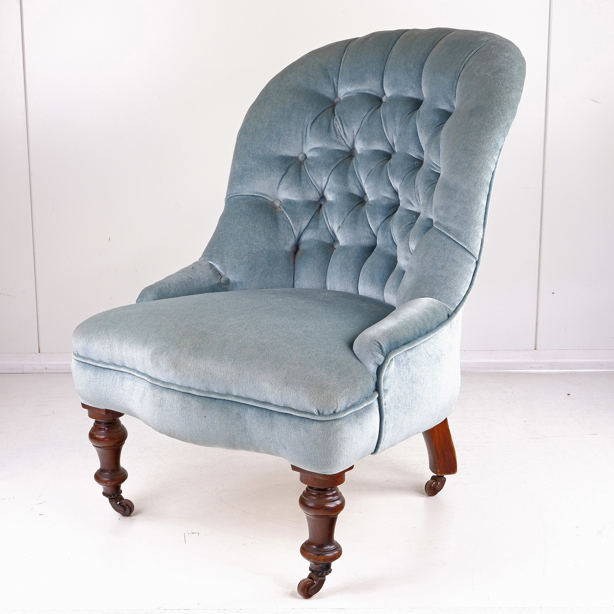 'Late Victorian Mahogany and Blue Buttoned Satin Slipper Chair Circa 1880'
