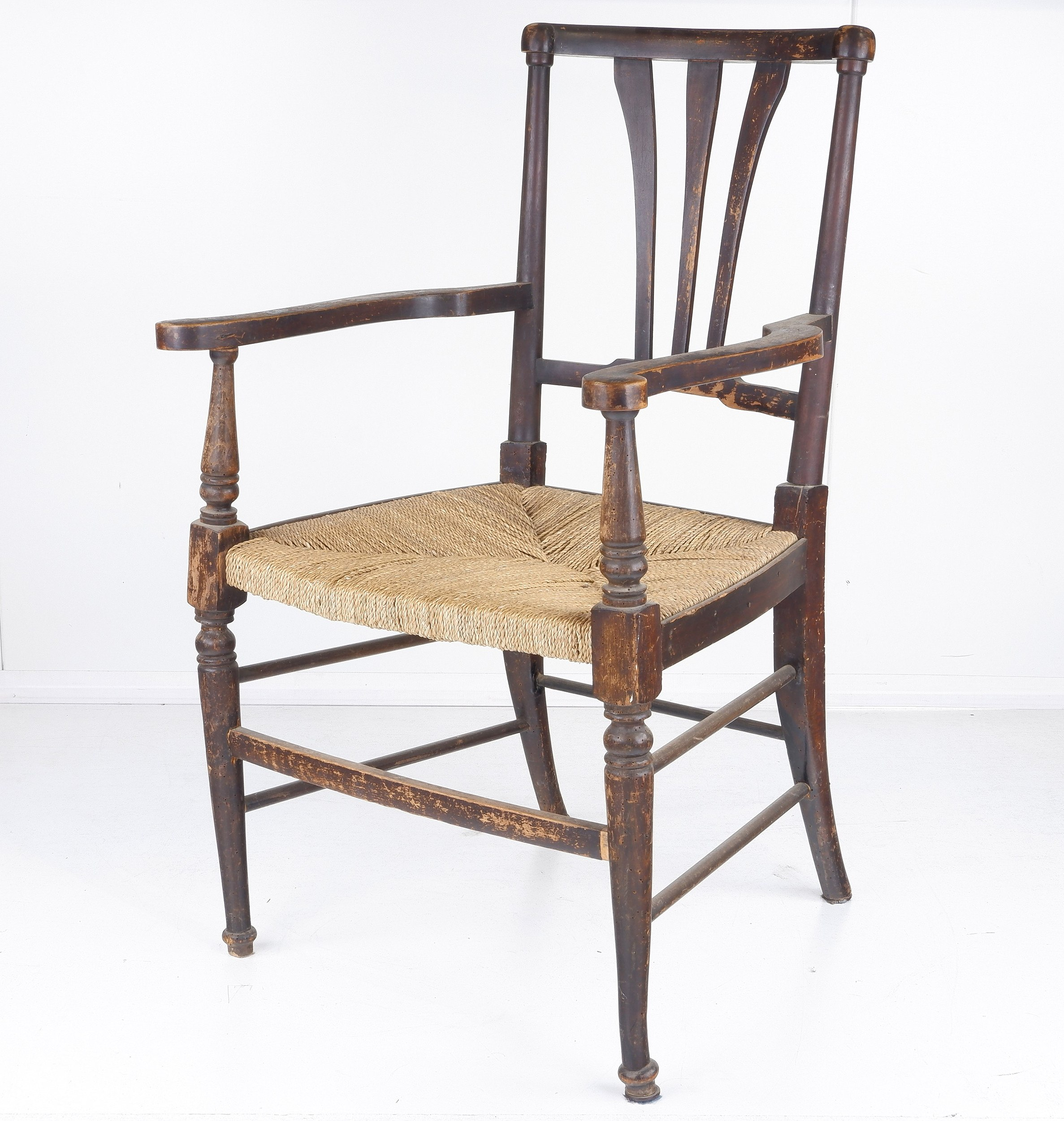 'English Arts and Crafts Style Dining Chair with Seagrass Seat Early 20th Century'