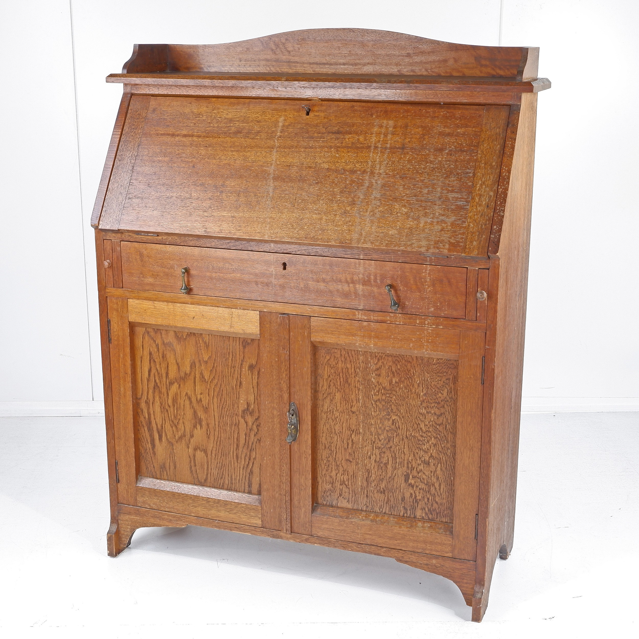 'Oak Fall Front Writing Bureau Early 20th Century'