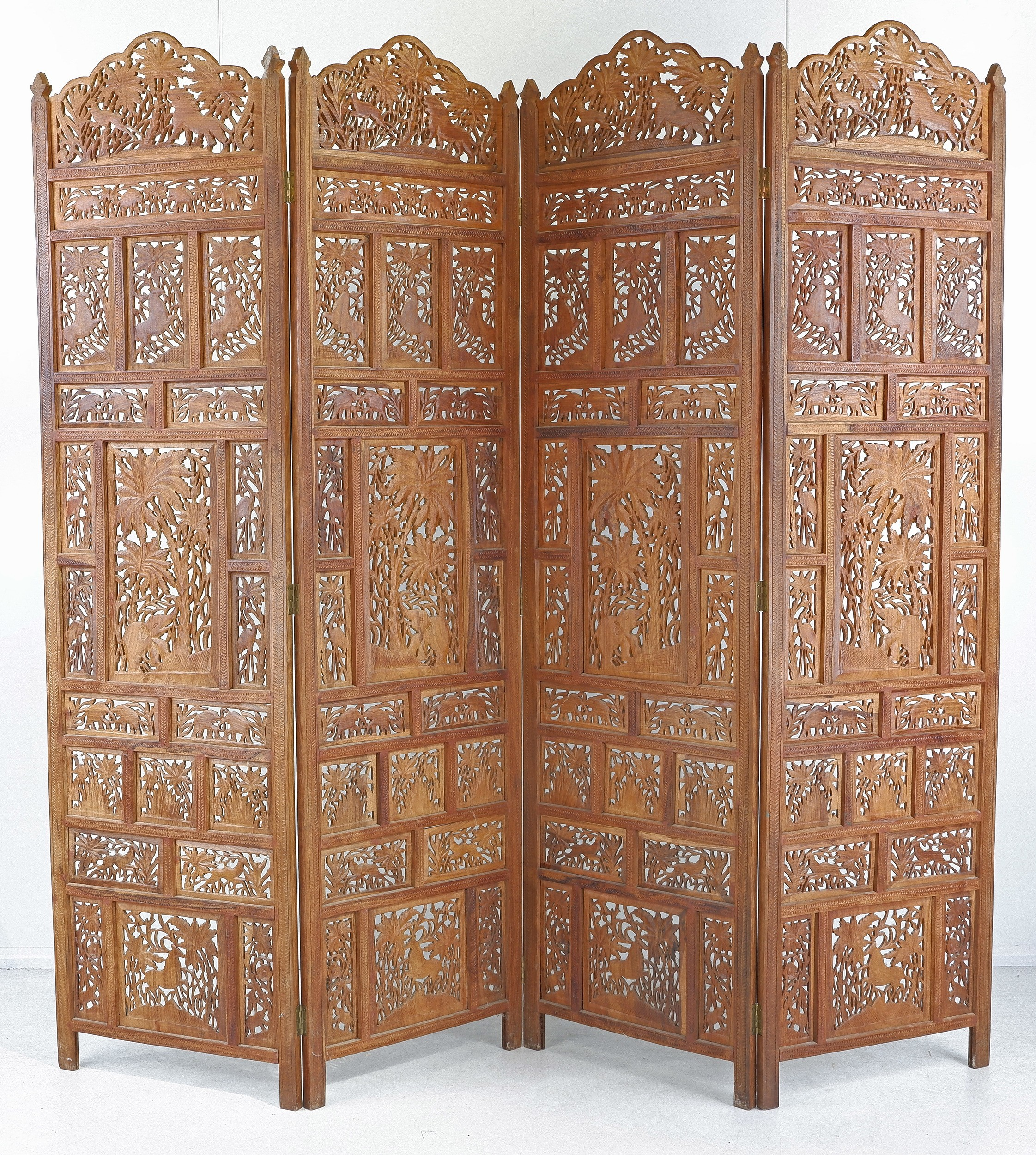'South East Asian Carved and Pierced Teak Folding Screen'