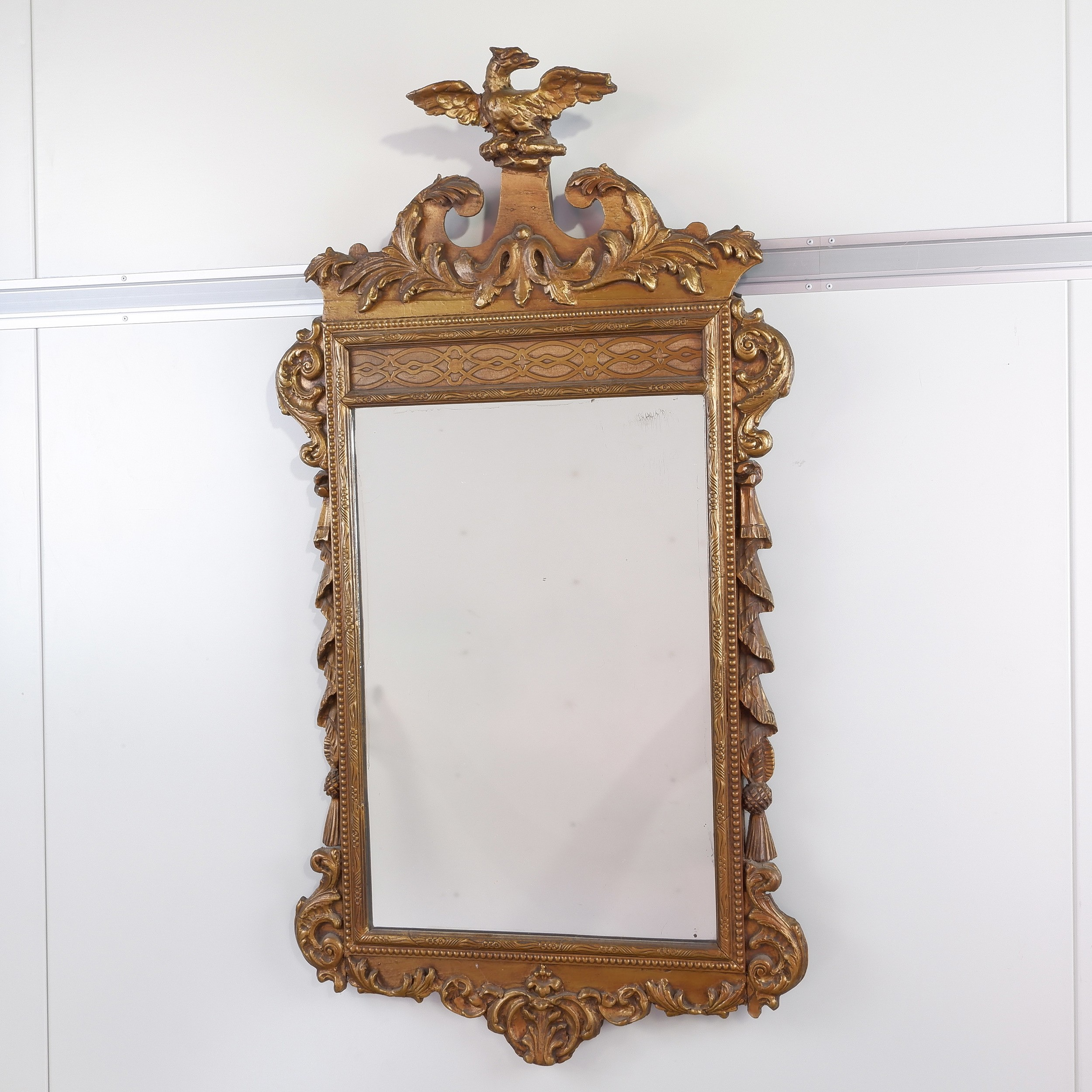 'Regency Carved Giltwood Pier Mirror with Eagle Crest 19th Century'