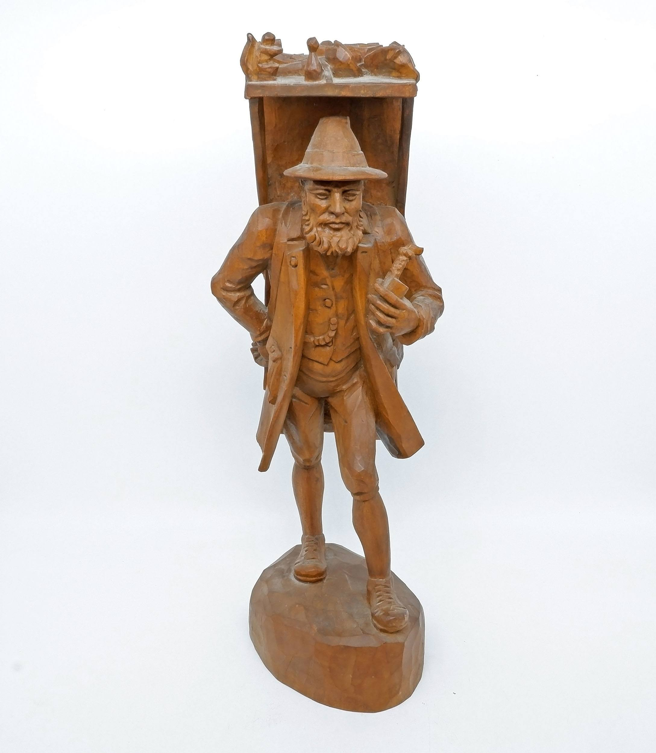 'Bavarian Woodcarving of a Kraxentraeger, Oberammergau 20th Century'