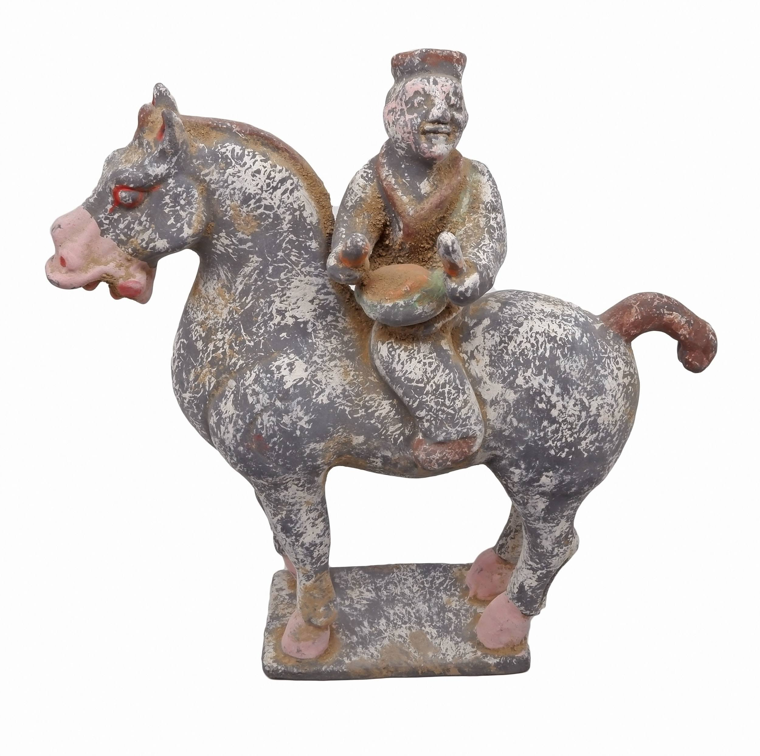 'Chinese Han Style Ceramic Model of a Drummer on Horseback, 20th Century'